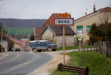 The city sign is seen at the entrance of the village in Bure, France, April 5, 2018. REUTERS/Vincent Kessler