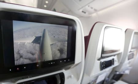 A screen with an external view of the plane is seen inside an Airbus A350 XWB during the first delivery of this new passenger jet to Qatar Airways in Toulouse, southwestern France, December 22, 2014. REUTERS/Regis Duvignau