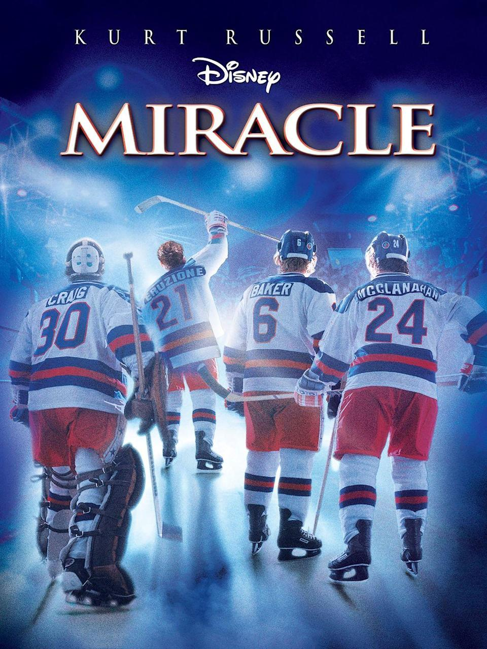"""<p>This retelling of the 1980 U.S. men's Olympic hockey team and their journey to victory brings tears to our eyes every time.</p><p><a class=""""link rapid-noclick-resp"""" href=""""https://www.amazon.com/Miracle-Kurt-Russell/dp/B003V5EDQ8/?tag=syn-yahoo-20&ascsubtag=%5Bartid%7C10050.g.25336174%5Bsrc%7Cyahoo-us"""" rel=""""nofollow noopener"""" target=""""_blank"""" data-ylk=""""slk:WATCH NOW"""">WATCH NOW</a></p>"""