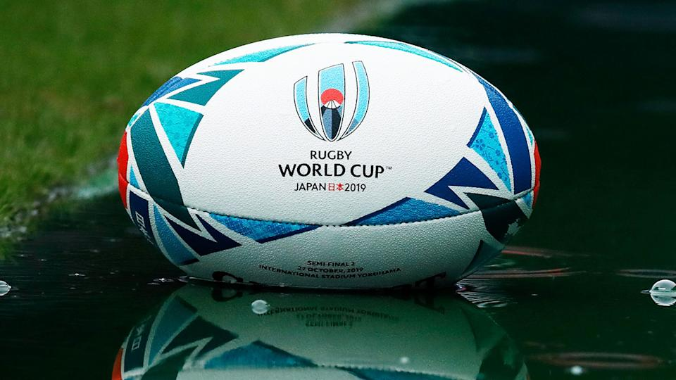 A ball from the 2019 Rugby World Cup in Japan is pictured.