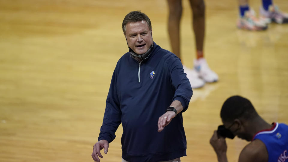 Kansas head coach Bill Self during the overtime of an NCAA college basketball game against Texas, Tuesday, Feb. 23, 2021, in Austin, Texas. (AP Photo/Eric Gay)