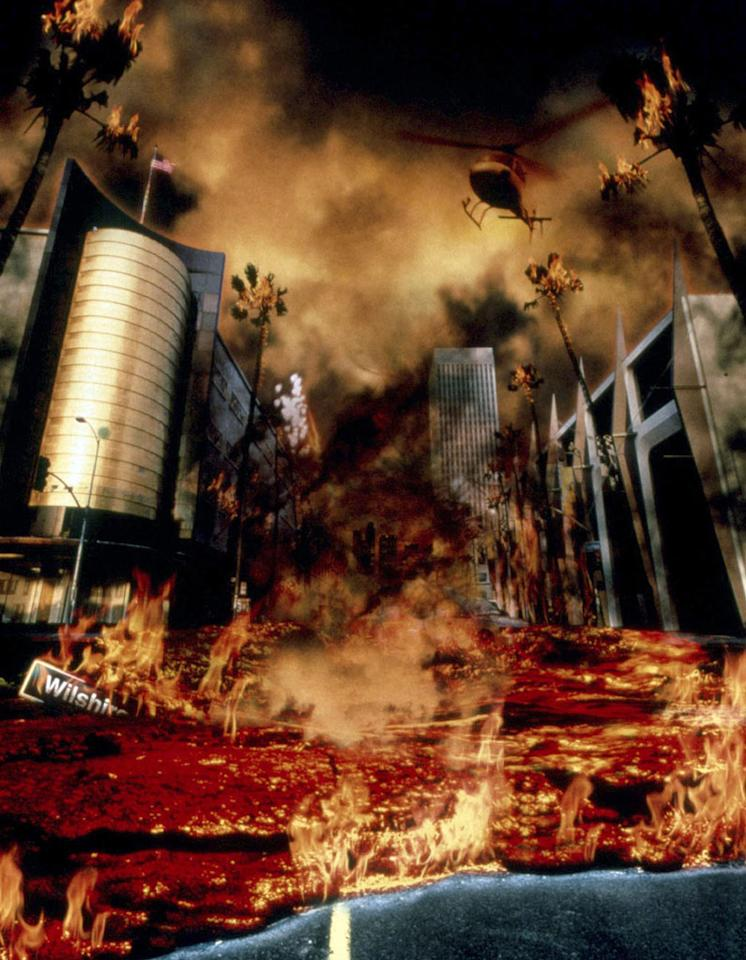 "<b>Movie</b>: ""<a href=""http://movies.yahoo.com/movie/1800343248/info"">Volcano</a>"" (1997)   <b>Catastrophe</b>: Lava. Lots of lava.   <b>Emmerich Scale L.A. Destruction</b>: 5.4 -- A river of lava oozes down Wilshire Boulevard about as slowly as rush-hour traffic.   <b>End Result</b>: A way cool volcano on Miracle Mile."