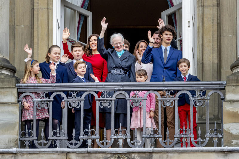 Queen Margrethe of Denmark, Crown Princess Mary of Denmark, Prince Christian of Denmark, Princess Isabella of Denmark, Prince Vincent of Denmark, Princess Josephine, Prince Joachim of Denmark, Princess Marie of Denmark, Prince Nikolai of Denmark, Prince Felix of Denmark, Prince Henrik of Denmark and Princess Athena of Denmark pose on the balcony of Amalienborg palace during the Danish Queen's 78th Birthday celebrations on April 16, 2018 in Copenhagen, Denmark.