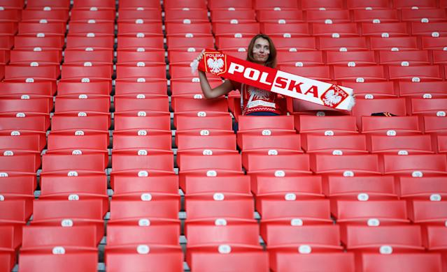 Soccer Football - World Cup - Group H - Poland vs Senegal - Spartak Stadium, Moscow, Russia - June 19, 2018 Poland fan inside the stadium before the match REUTERS/Carl Recine