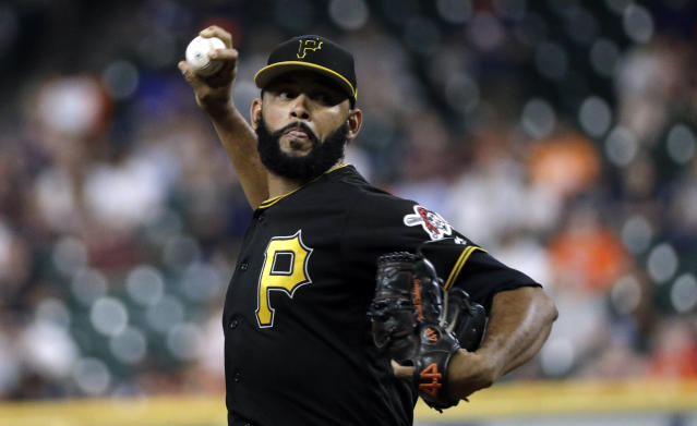 Pittsburgh Pirates starting pitcher Richard Rodriguez throws during the first inning of an exhibition baseball game against the Houston Astros, Monday, March 25, 2019, in Houston. (AP Photo/David J. Phillip)