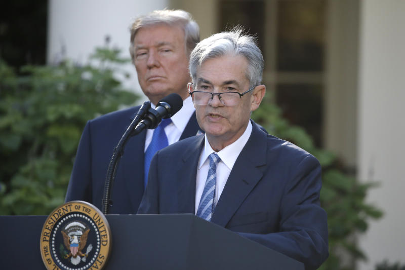 U.S. President Donald Trump looks on as Jerome Powell, his nominee to become chairman of the U.S. Federal Reserve, speaks at the White House in Washington, U.S., November 2, 2017. REUTERS/Carlos Barria