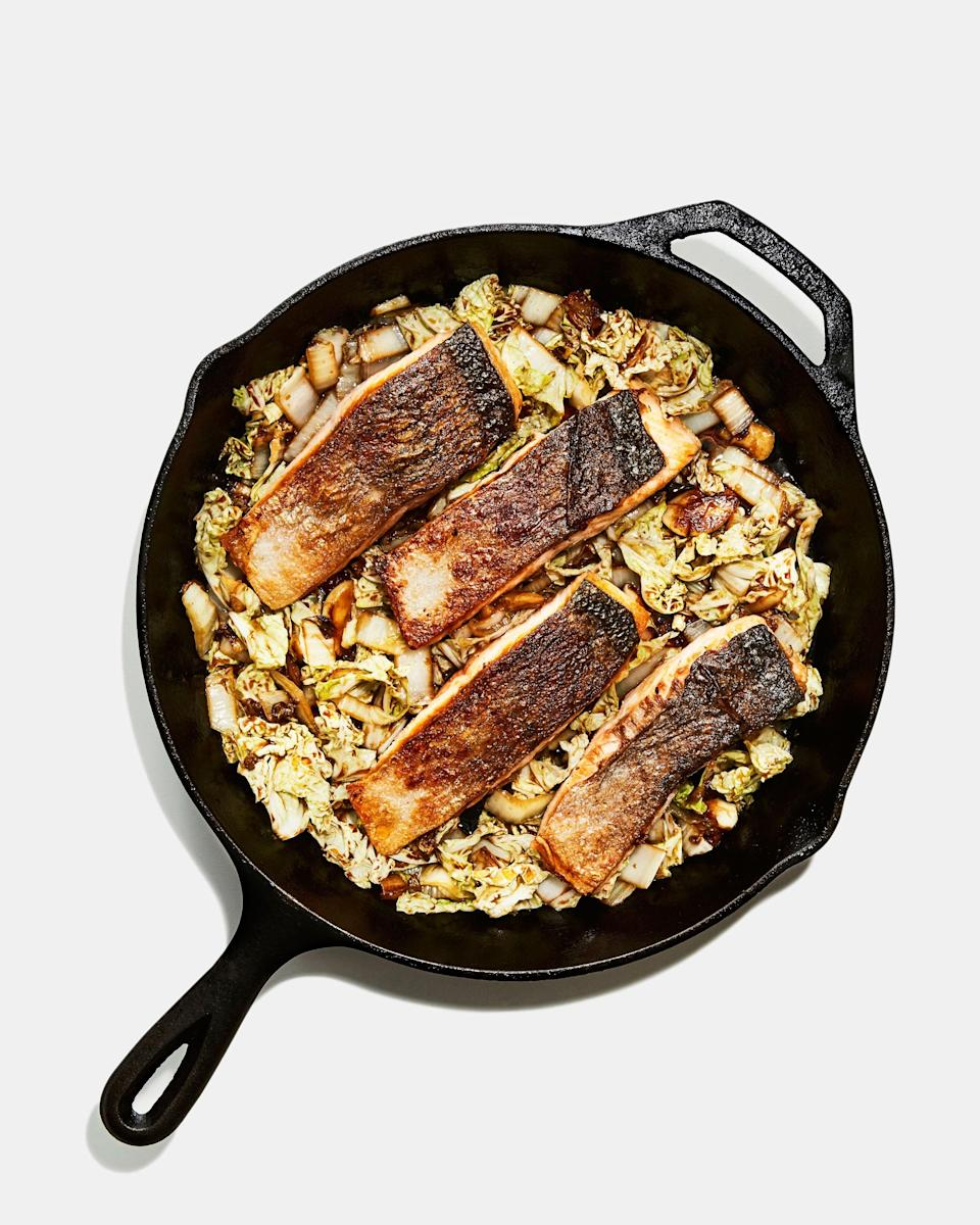 "Does the thought of cooking fish at home freak you out? We got you. This method guarantees that the salmon comes out perfectly cooked with crispy skin. Use the same technique with any skin-on fish fillets for great results every time. <a href=""https://www.bonappetit.com/recipe/crispy-skin-salmon-with-napa-cabbage?mbid=synd_yahoo_rss"" rel=""nofollow noopener"" target=""_blank"" data-ylk=""slk:See recipe."" class=""link rapid-noclick-resp"">See recipe.</a>"