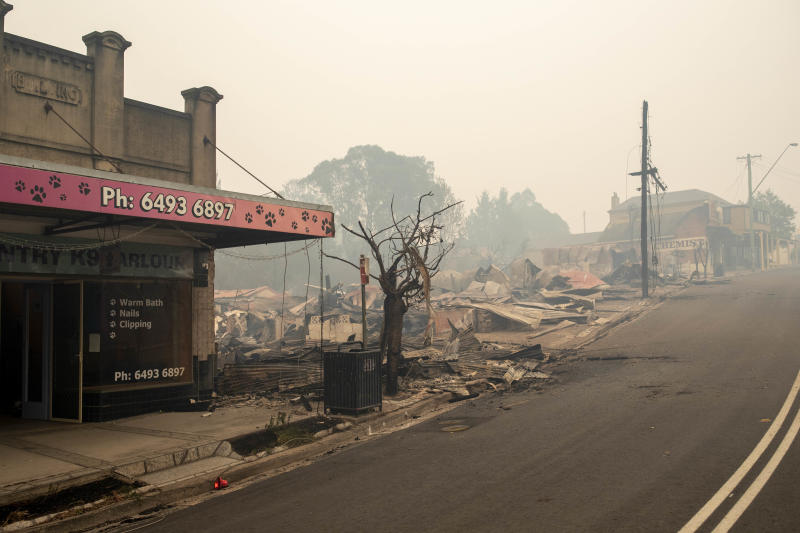 Buildings destroyed by fire are seen on the Main Street in Cobargo, NSW.