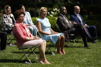"""Front row from left, Jovita Carranza, administrator of the Small Business Administration, Education Secretary Betsy DeVos, Housing and Urban Development Secretary Ben Carson and Commerce Secretary Wilbur Ross listen as President Donald Trump speaks before signing an executive order on the """"White House Hispanic Prosperity Initiative,"""" in the Rose Garden of the White House, Thursday, July 9, 2020, in Washington. (AP Photo/Evan Vucci)"""