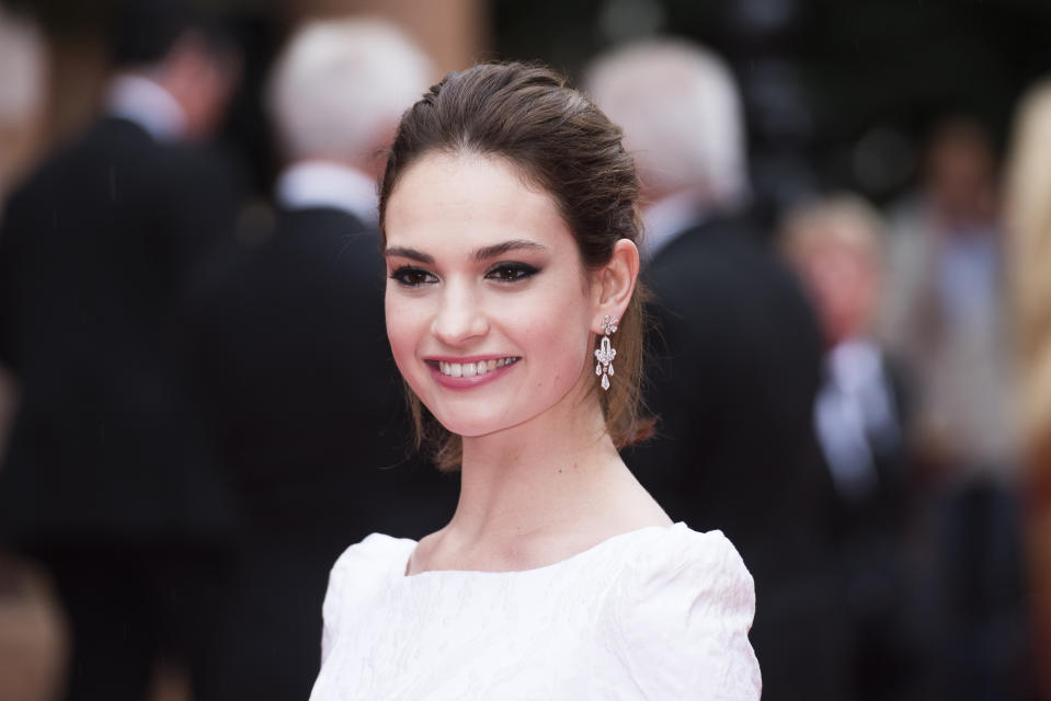 Lily James arrives at the BAFTA Downton Abbey Celebration at the Richmond Theatre - London