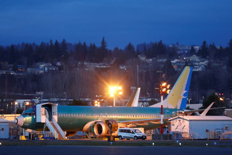 Boeing 737 Max aircraft sit on the tarmac at the Renton Municipal Airport in Renton