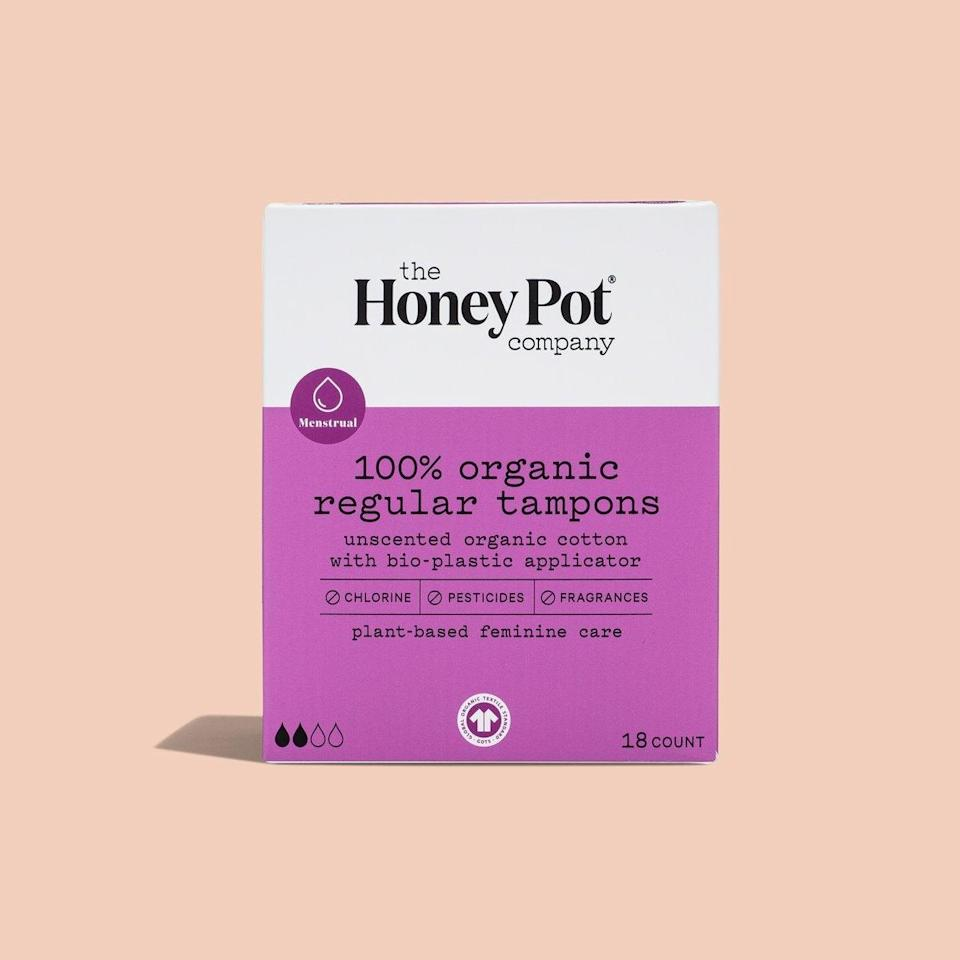 """<h3>The Honey Pot Company</h3> <br>If you get periods, you can either hit Amazon Prime for mass-brand pads and tampons...<em>or</em> you can vote with your dollars (again and again, because that's how periods work!) by supporting an emerging brand that creates natural, non-toxic feminine care products.<br><br><strong>The Honey Pot Company</strong> Organic Regular Tampons, $, available at <a href=""""https://go.skimresources.com/?id=30283X879131&url=https%3A%2F%2Fthehoneypot.co%2Fproducts%2Fregular-organic-tampons%3Fvariant%3D32025600589917"""" rel=""""nofollow noopener"""" target=""""_blank"""" data-ylk=""""slk:The Honey Pot Company"""" class=""""link rapid-noclick-resp"""">The Honey Pot Company</a><br>"""