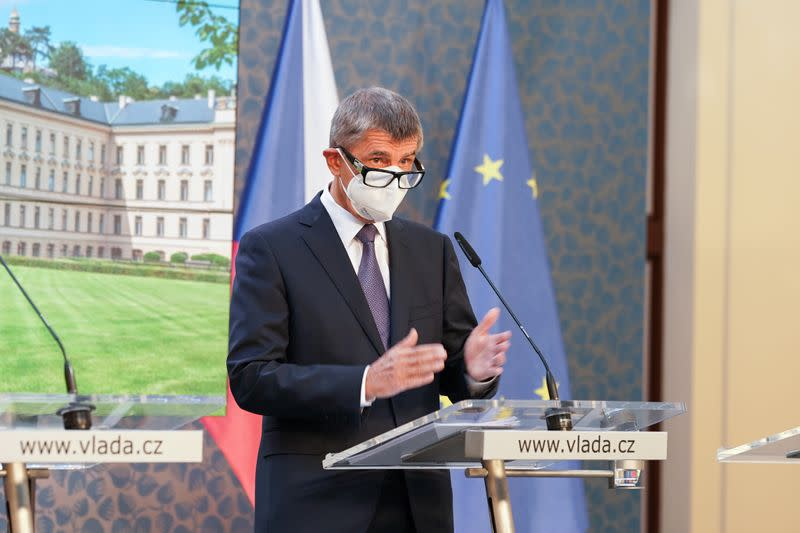 Czech Prime Minister Andrej Babis attends a a news conference in Prague