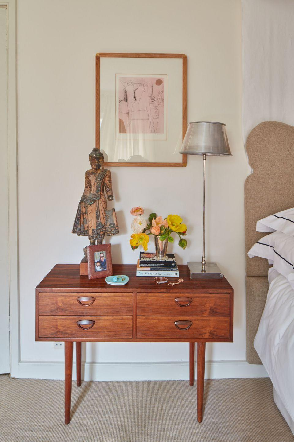 """<p>""""I love 50s Danish aesthetic, and this pair of bedside tables was perfect - I wanted something very simple but needed drawers to keep all my clutter away. The print is by Marino Marini, I have had it since I was 18 and it is always close to me.""""</p>"""