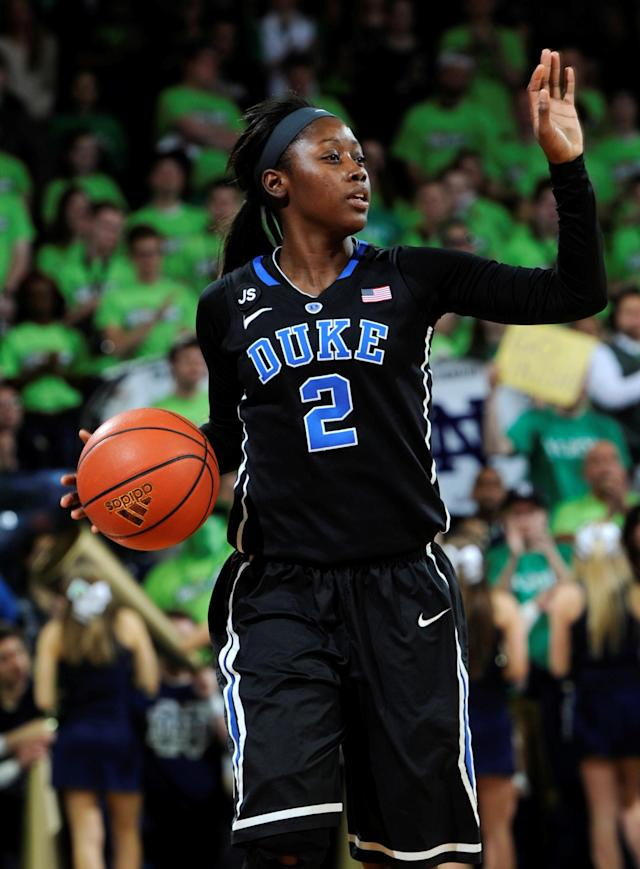 Duke guard Alexis Jones calls a play in an NCAA college basketball game with Duke Sunday, Feb. 23, 2014 in South Bend, Ind. (AP Photo/Joe Raymond)