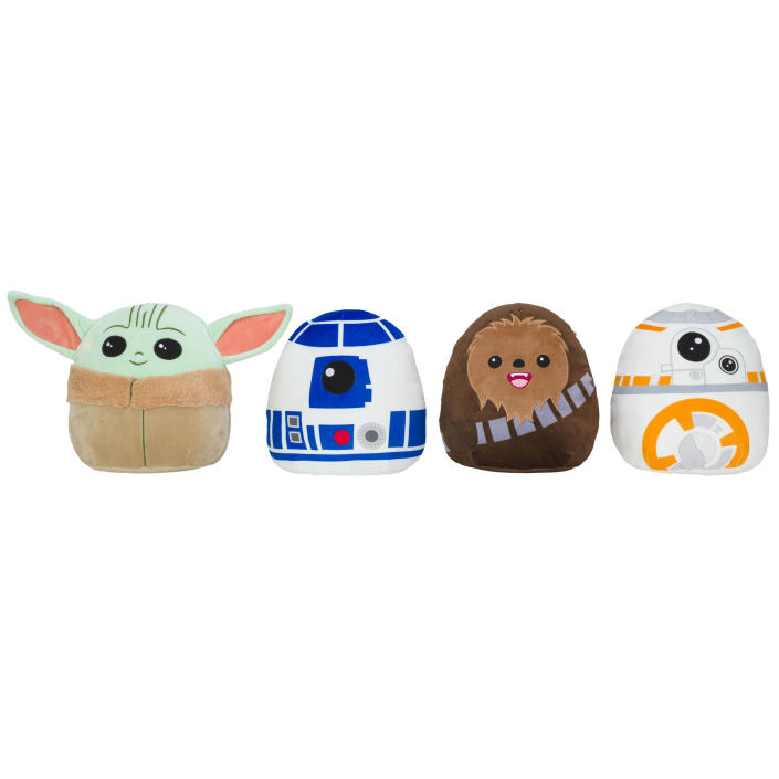 "Popular Squishmallow toys from the ""Star Wars"" franchise."