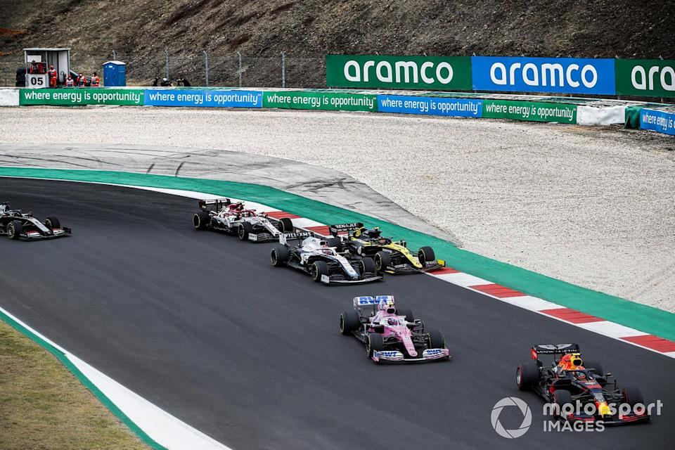 "Alex Albon, Red Bull Racing RB16, Lance Stroll, Racing Point RP20, Esteban Ocon, Renault F1 Team R.S.20, George Russell, Williams FW43, Antonio Giovinazzi, Alfa Romeo Racing C39, Romain Grosjean, Haas VF-20<span class=""copyright"">Zak Mauger / Motorsport Images</span>"
