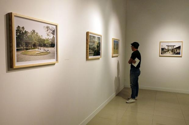 A visitor views artwork at the 'ESCAPE from the SEA' exhibition, as organised by Japan Foundation Kuala Lumpur, at National Visual Arts Gallery in Kuala Lumpur March 15, 2017. — Picture by Yusof Mat Isa