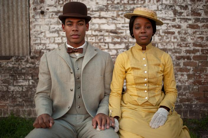 """After escaping a Georgia plantation, Caesar (Aaron Pierre), left, and Cora (Thuso Mbedu) find themselves in much different circumstances in South Carolina in Amazon's """"The Underground Railroad."""""""
