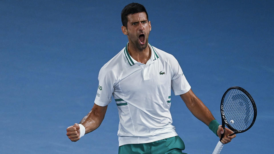 Novak Djokovic dominated Russian qualifier Aslan Karatsev to earn his place in the Australian Open final. (Photo by TPN/Getty Images)