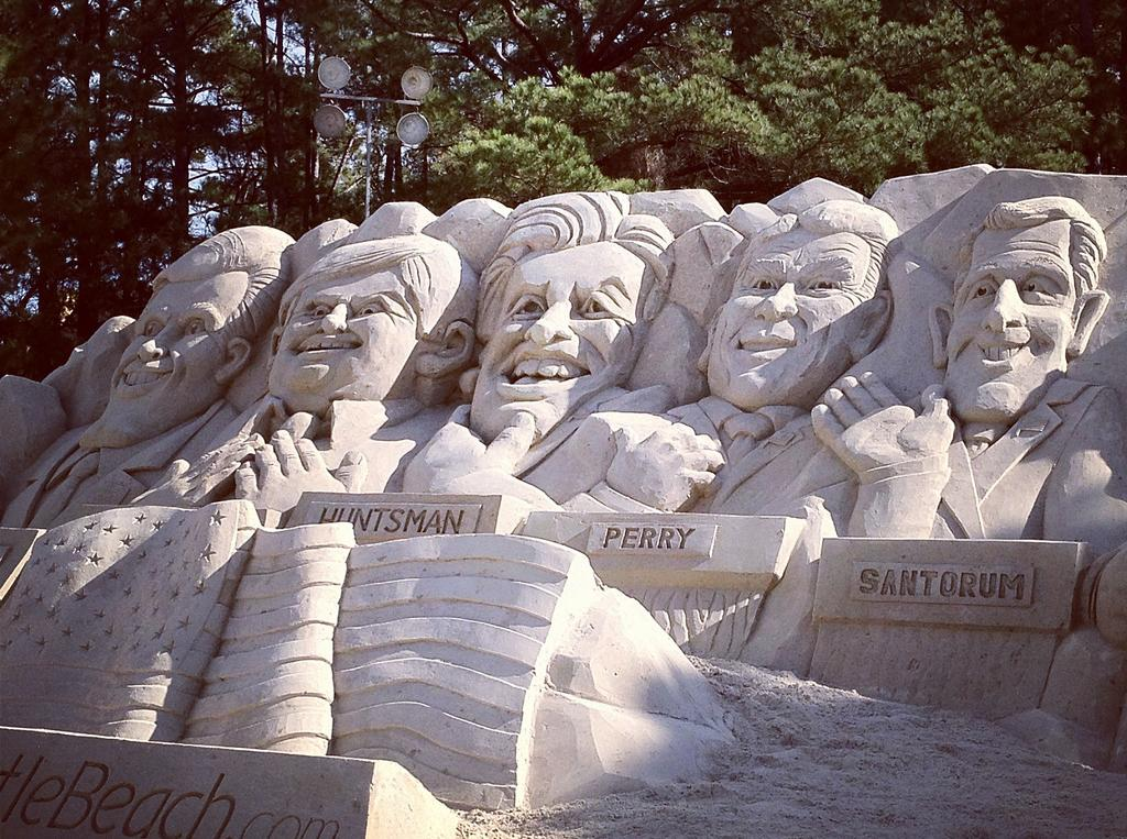 A sand sculpture of the Republican candidates in Myrtle Beach, South Carolina (Yahoo News)