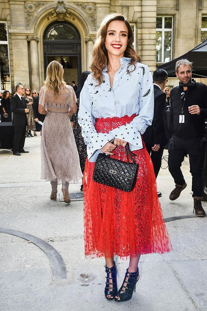 <p>Mixing a menswear-inspired top with a frilly lace skirt for the front row at Valentino.<i> (Photo by Jacopo Raule/GC Images)</i></p>