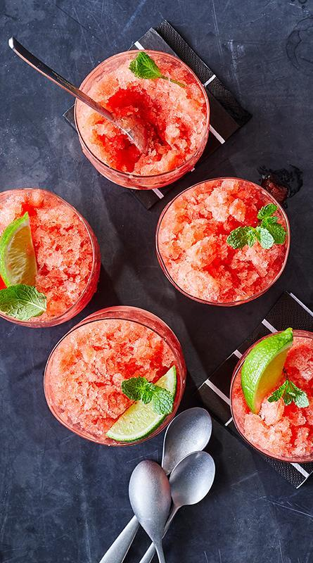 <p>This dessert-like tropical cocktail features watermelon, rum, and an unexpected extra—mint jelly. Enjoy it poolside all summer long. </p>