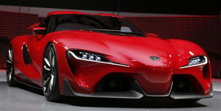 View of the Toyota FT-1 concept car's grille area as it is unveiled during the press preview day of the North American International Auto Show in Detroit