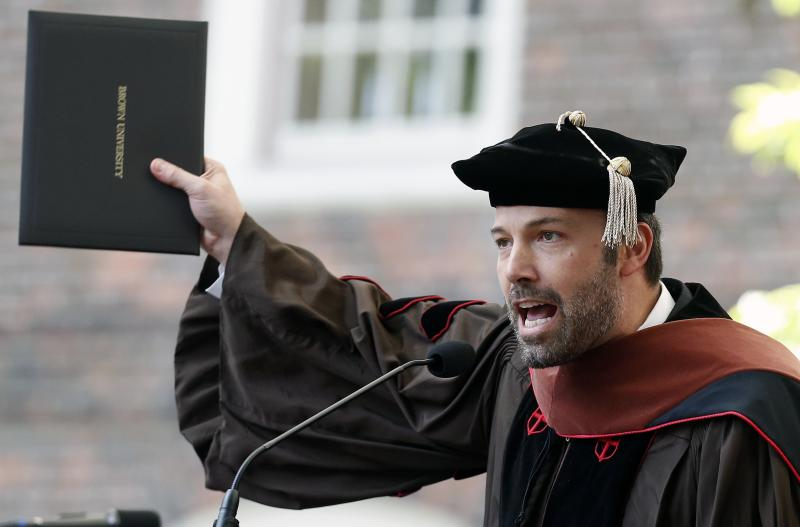 Ben Affleck speaks after receiving an honorary degree at Brown University's 245th commencement in Providence, R.I., Sunday, May 26, 2013. (AP Photo/Michael Dwyer)
