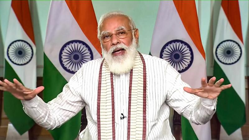 **EDS: SCREENSHOT FROM A VIDEO POSTED BY @narendramodi ON THURSDAY, SEPT. 24, 2020** New Delhi: Prime Minister Narendra Modi virtually launches 'Fit India Age Appropriate Fitness Protocols' during Fit India Dialogue on the first anniversary of Fit India Movement, in New Delhi. (PTI Photo)(PTI24-09-2020_000049B)