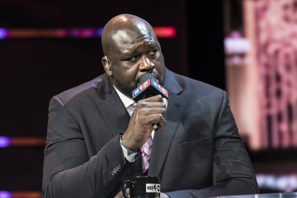 LAS VEGAS, NV - JANUARY 11: Shaquille O'Neal pictured during a special live NBA On TNT Telecast at CES 2018 in Las Vegas, Nevada on January 11, 2018. Credit: Damairs Carter/MediaPunch/IPX