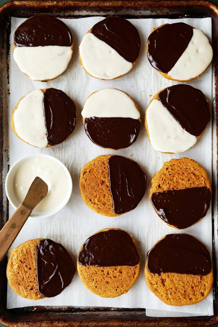 """<p>Lovers of black and white cookies need to try this maple- and pumpkin-flavored recipe. Such a fun fall twist! </p><p><strong>Get the recipe at <a href=""""https://joythebaker.com/2019/10/maple-pumpkin-black-and-white-cookies/"""" rel=""""nofollow noopener"""" target=""""_blank"""" data-ylk=""""slk:Joy the Baker"""" class=""""link rapid-noclick-resp"""">Joy the Baker</a>.</strong> </p>"""
