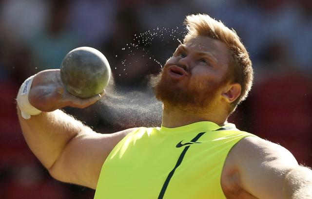 Kurt Roberts of the U.S. competes in the men's Shot Put during the IAAF Diamond League athletics meeting at Hampden Park in Glasgow July 11, 2014. REUTERS/Phil Noble (BRITAIN - Tags: SPORT ATHLETICS)
