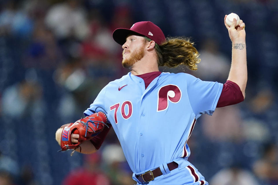Philadelphia Phillies' Bailey Falter pitches during the fifth inning of a baseball game against the Chicago Cubs, Thursday, Sept. 16, 2021, in Philadelphia. (AP Photo/Matt Slocum)
