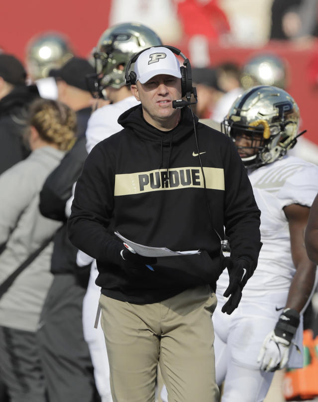 FILE - In this Saturday, Nov. 24, 2018, file photo, Purdue head coach Jeff Brohm watches during the second half of an NCAA college football game against Indiana, in Bloomington, Ind. Brohm likes what he sees at Purdue. The offense can rely on an experienced quarterback and a game-breaking receiver. The defense can build around a stout defensive line and some playmaking linebackers. Theres even a manageable schedule. (AP Photo/Darron Cummings, File)