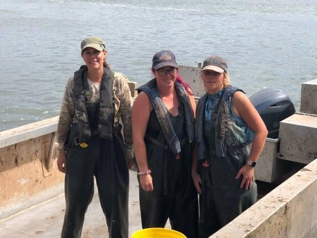 'Good-paying' jobs are available in the aquaculture industry, says the group representing the sector. Here, an all-women crew works at Atlantic Aqua Farms in the summer of 2020. (Submitted by Dana Drummond/Atlantic Aqua Farms - image credit)
