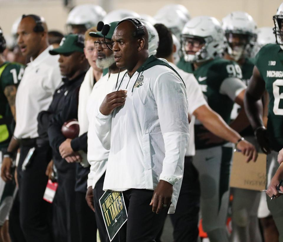 Michigan State Spartans head coach Mel Tucker on the sidelines during action against the Western Kentucky Hilltoppers Saturday, Oct. 02, 2021.