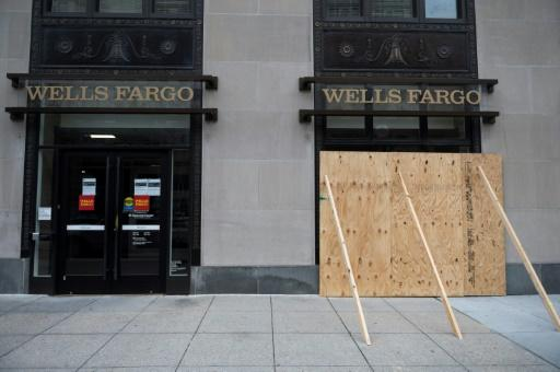 A Wells Fargo Bank near the White House is boarded up after the unrest in downtown Washington, DC on June 2, 2020