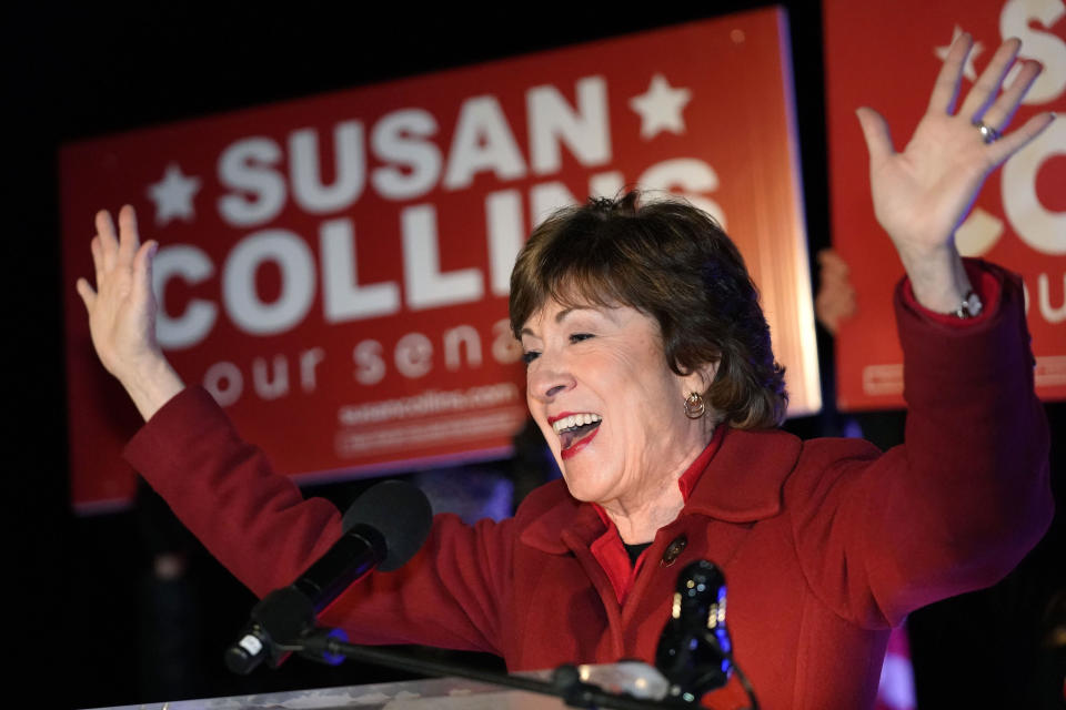 Sen. Susan Collins, R-Maine, addresses supporters just after midnight on Wednesday, Nov. 4, 2020, in Bangor, Maine. (AP Photo/Robert F. Bukaty)