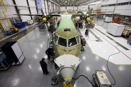 A Bombardier q400 airplane is seen being assembled at the Bombardier aircraft manufacturing facility in Toronto