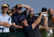 England's Paul Casey plays his shot from the 3rd tee during the first round British Open Golf Championship at Royal St George's golf course Sandwich, England, Thursday, July 15, 2021. (AP Photo/Alastair Grant)