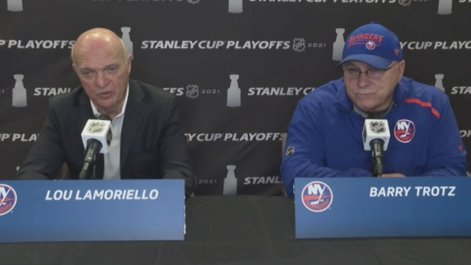Barry Trotz and Lou Lamoriello Zoom call