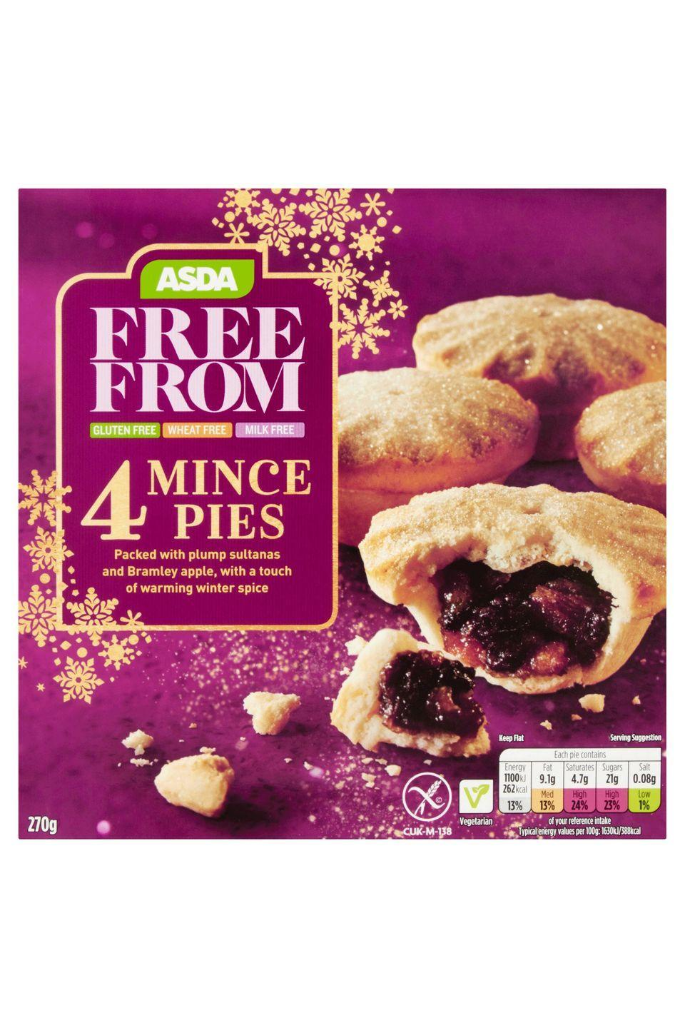 "<p><strong>Overall score: 63/100</strong></p><p>Although these gluten-free mince pies have an earthy aroma, the orange and lemon peel give a pleasant, zesty hint with a fruity balance also coming through. While the pastry was found to be grainy and cloying, the moist filling with sharp citrus flavours and a good level of sweetness saves this mince pie. </p><p><a class=""link rapid-noclick-resp"" href=""https://groceries.asda.com/product/swiss-roll-sponge-cakes/asda-free-from-4-mince-pies/1000008145057"" rel=""nofollow noopener"" target=""_blank"" data-ylk=""slk:BUY NOW"">BUY NOW</a> <strong>Asda, £1.55 for 4 (serves 4)</strong></p>"