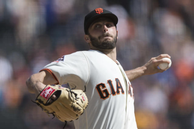 San Francisco Giants starting pitcher Andrew Suarez throws against the Los Angeles Dodgers in the first inning of a baseball game in San Francisco, Sunday, Sept. 30, 2018. (AP Photo/John Hefti)