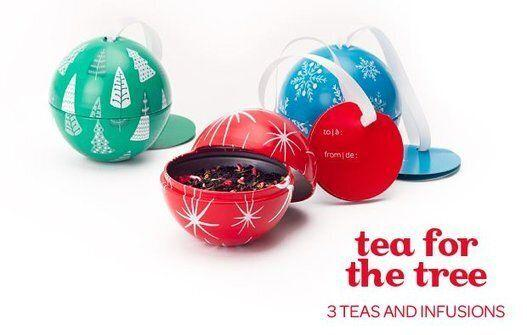 "This charming sampler set has three of David's holiday teas, and the holders double as ornaments for the tree when the tea is gone. <a href=""http://www.davidstea.com/tea-for-the-tree-set-of-3?&TF=69AA6DF1E4D8&DEID="" target=""_blank"">Get it here.</a>"