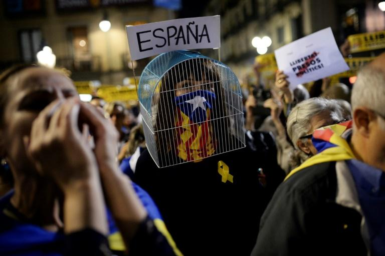 Caged up: One of the pro-independence marches held in Barcelona last month