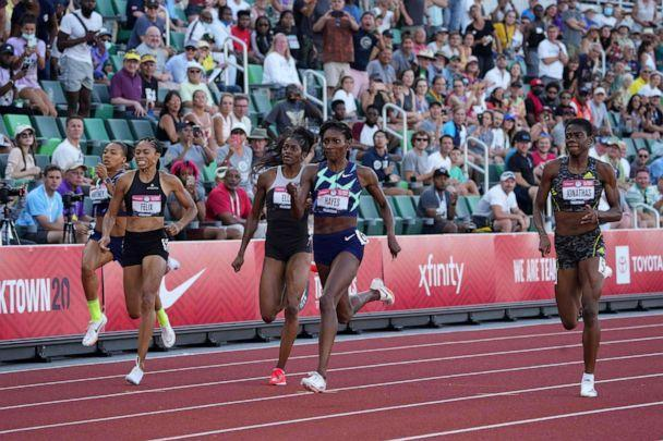 PHOTO: Quanera Hayes (center) defeats Allyson Felix, Kendall Ellis and Wadeline Jonathas to win the women's 400m during the US Olympic Team Trials at Hayward Field in Eugene, Ore., June 20, 2021. (Kirby Lee/USA TODAY Sports via Reuters)