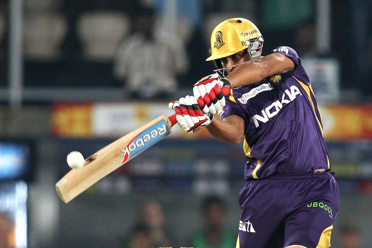 Manvinder Bisla of Kolkata Knight Riders hits over the top during match 72 of the Pepsi Indian Premier League between The Sunrisers Hyderabad and The Kolkata Knight Riders held at the Rajiv Gandhi International Stadium, Hyderabad on the 19th May 2013. (BCCI)