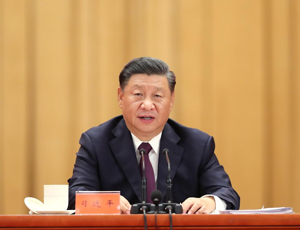 BEIJING, Sept. 8, 2020  -- Chinese President Xi Jinping, also general secretary of the Communist Party of China Central Committee and chairman of the Central Military Commission, delivers a speech at a meeting commending role models in the country's fight against the COVID-19 epidemic at the Great Hall of the People in Beijing, capital of China, Sept. 8, 2020. (photo by Yao Dawei /Xinhua via Getty) (Xinhua/Yao Dawei via Getty Images)