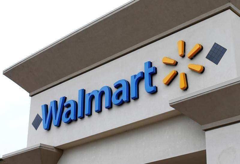 The logo of Down Jones Industrial Average stock market index listed company Walmart